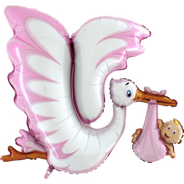 """Grabo Folienballon 135cm Durchmesser Storch Rosa 53"""""""