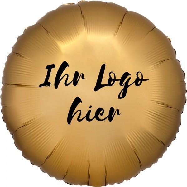 """Folien-Werbeballon Rund Satin Luxe Gold 45cm/18"""" 1-Seitig bedruckt"""