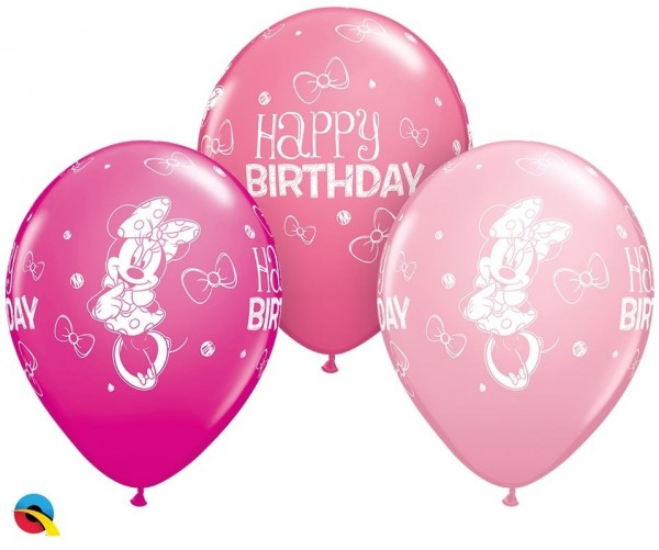 "Qualatex Latexballon Minni Mouse Birthday Assortment 28cm/11"" 25 Stück"