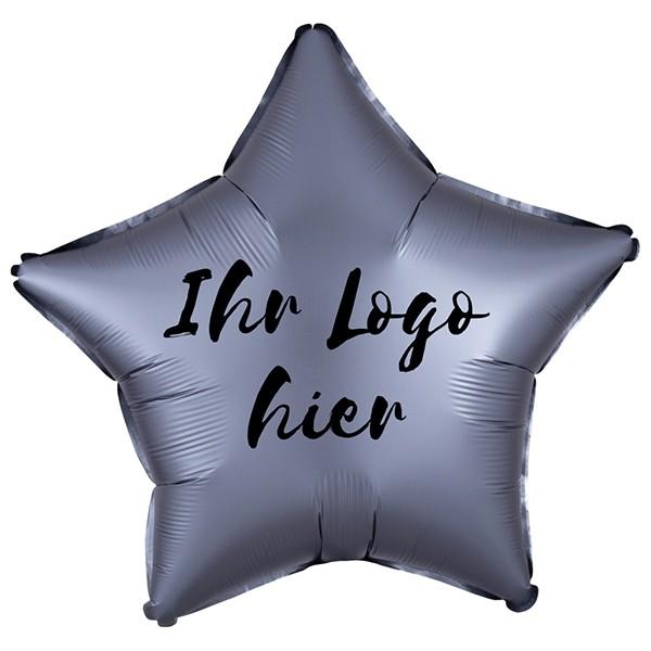 """Folien-Werbeballon Stern Satin Luxe Graphite 50cm/20"""" 1-Seitig bedruckt"""