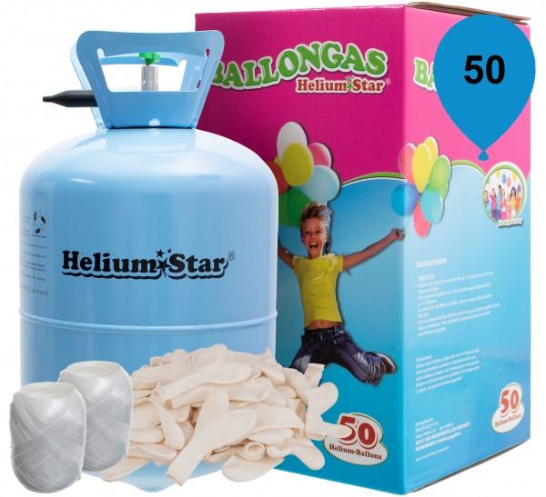 HeliumStar Ballongas 50er Einweggasflasche mit 50 weißen Herzballons und Bandknäuel