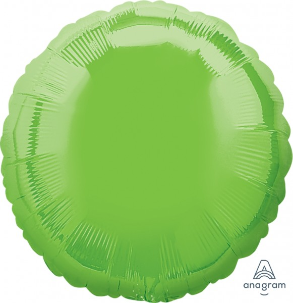 Anagram Folienballon Rund Iridescent Lime Green 45cm/18""