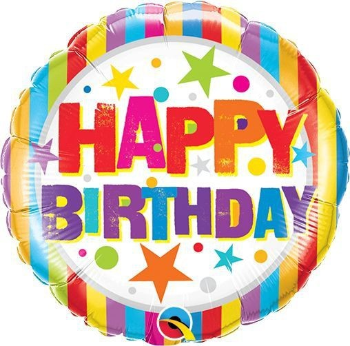"Qualatex Folienballon Birthday Stripes und Stars 23cm/9"""