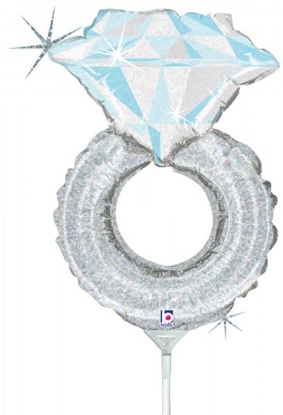 "Betallic Folienballon Mini Wedding Ring Holographic 35cm/14"" luftgefüllt inkl. Stab"
