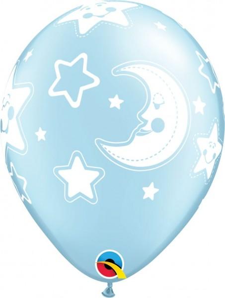 "Qualatex Latexballon Baby Moon & Stars Blue 28cm/11"" 25 Stück"