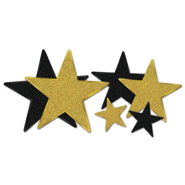 Beistle Dekoset Glimmer-Sterne Schwarz & Gold 6 Stück