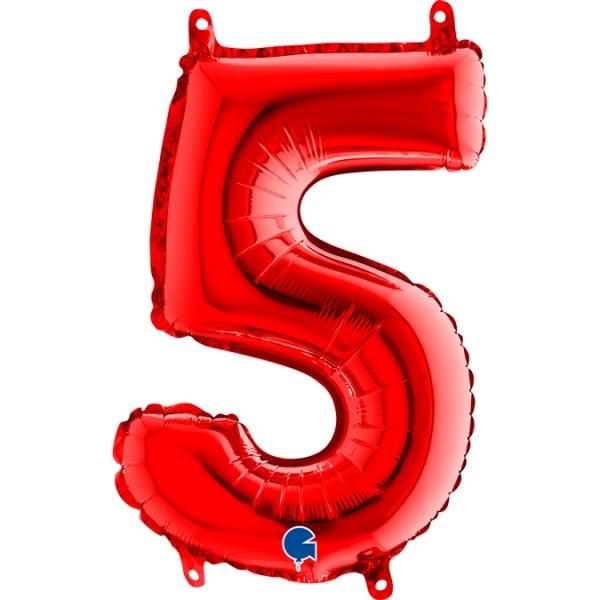 "Grabo Folienballon Zahl 5 Red 35cm/14"""