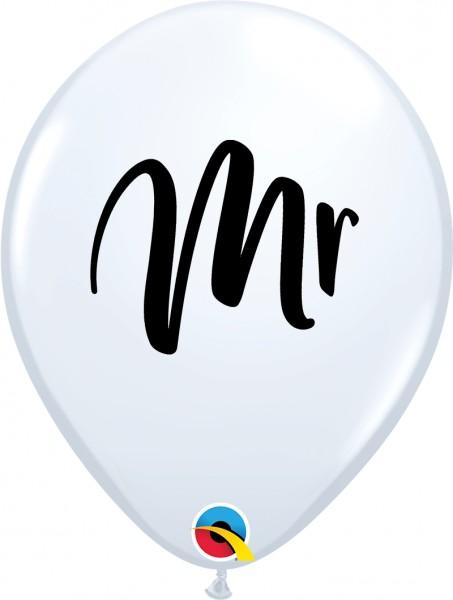 "Qualatex Latexballon Mr. White 28cm/11"" 25 Stück"