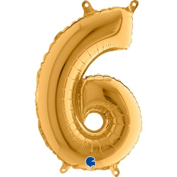 "Grabo Folienballon Gold 36cm/14"" Zahl 6"