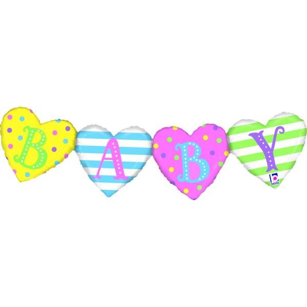 "Betallic Folienballon ""Baby"" Girlande 104cm/41"""