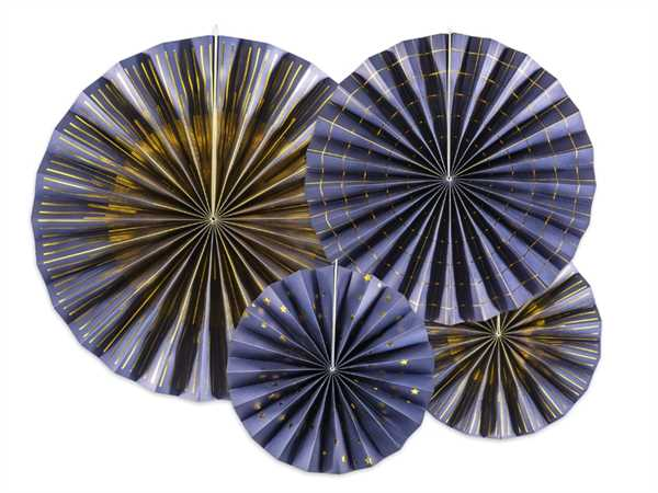 PartyDeco Dekofächer dunkelblau & gold, 4 Stück