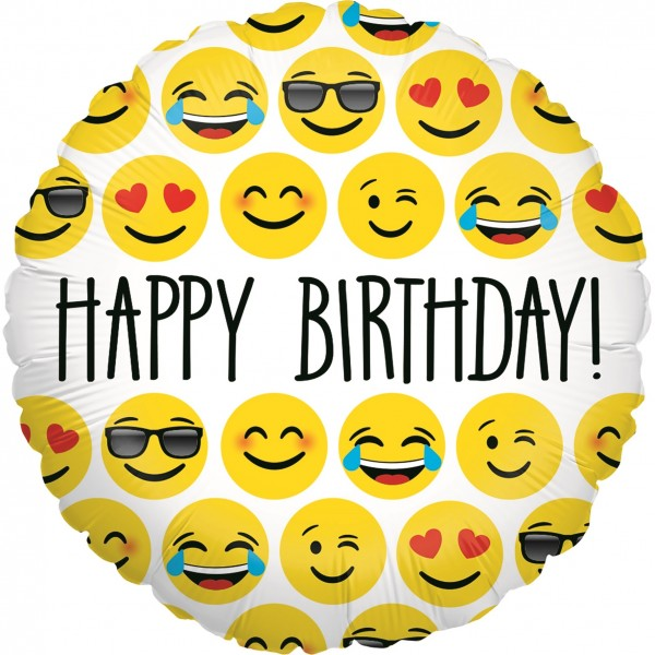 Betallic Folienballon Emoji Birthday 23cm/9""