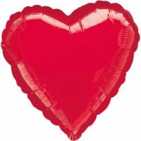 "Anagram Folienballon Herz Metallic Red 45cm/18"""