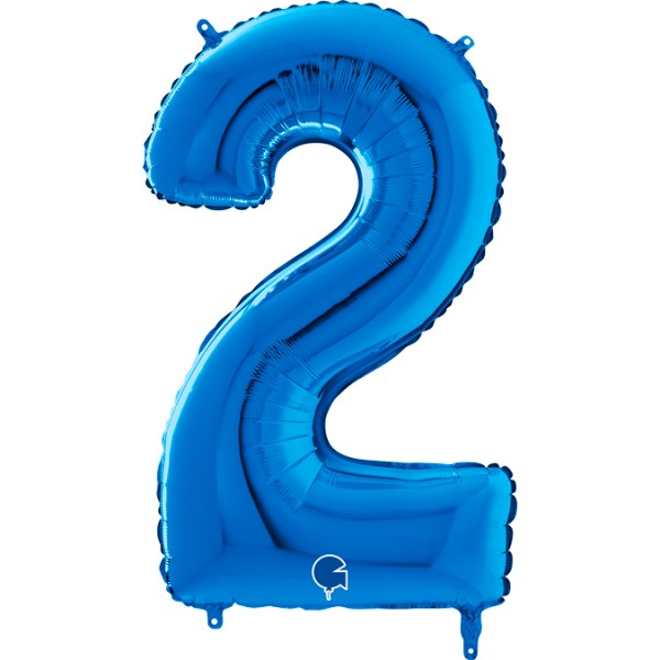 "Grabo Folienballon Zahl 2 Blue 66cm/26"""