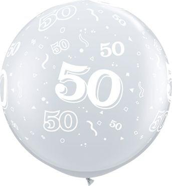 Qualatex Latexballon 50-A-Round Diamond Clear 90cm/3' 2 Stück