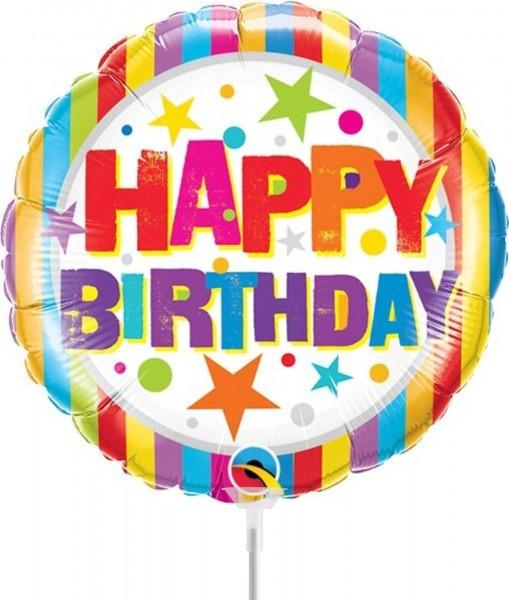 """Qualatex Folienballon Birthday Stripes und Stars 23cm/9"""" luftgefüllt inkl. Stab"""