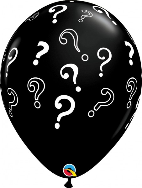 "Qualatex Latexballon Fashion Question Marks Onyx Black 40cm/16"" 50 Stück"