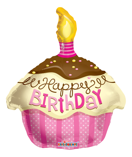 "Kaleidoscope Folienballon ""Happy Birthday - Pinker Cupcake"", 18"""