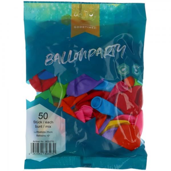 "Goodtimes Latexballon Rund Pastel Mix 25cm/10"" 50 Stück"