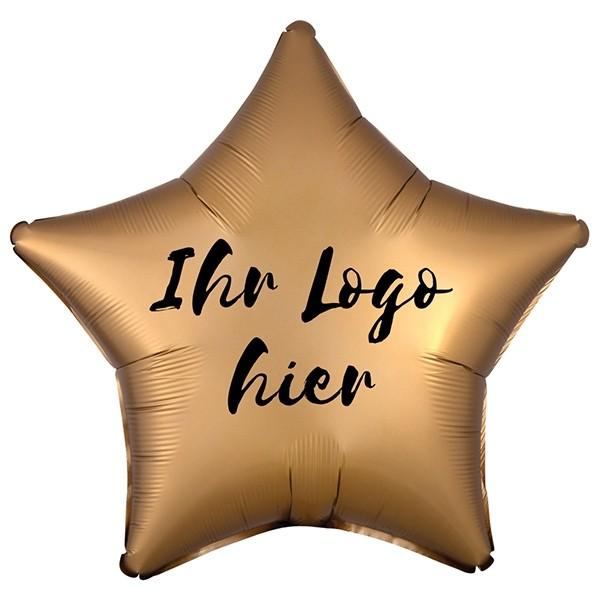 """Folien-Werbeballon Stern Satin Luxe Gold 50cm/20"""" 1-Seitig bedruckt"""