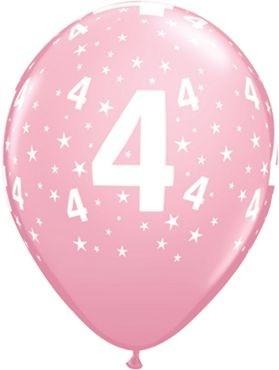 "Qualatex Latexballon Age 4 Stars Pink 28cm/11"" 6 Stück"
