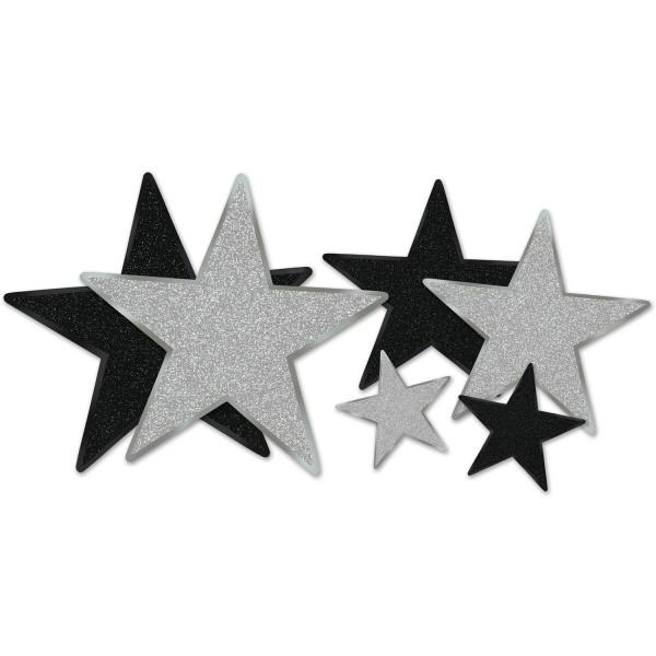 Beistle Dekoset Glimmer-Sterne Schwarz & Silber 6 Stück