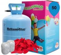 HeliumStar Ballongas 50er Einweggasflasche mit 50 rote Herzballons und Bandknäuel