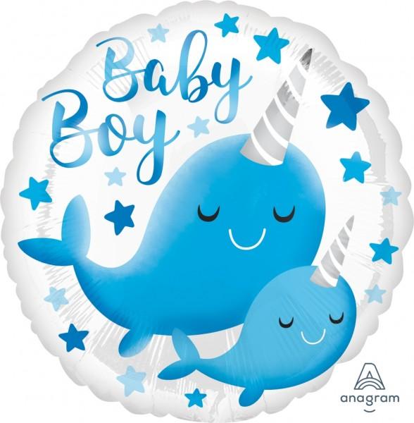 """Anagram Folienballon Rund 43cm Durchmesser """"Narwal-Baby"""""""