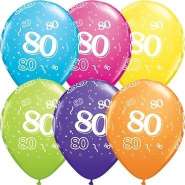 "Qualatex Latexballon Age 80 Retail Sortiment 28cm/11"" 6 Stück"