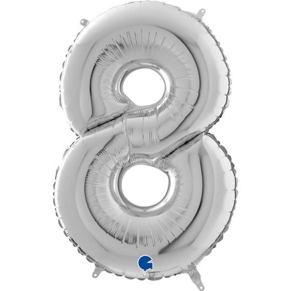 """Grabo Folienballon Zahl 8 Silver 66cm/26"""""""
