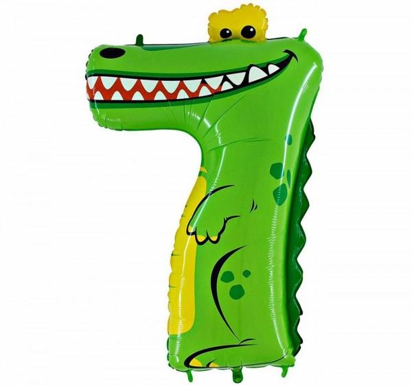 "Grabo Folienballon Zahl 7 Animaloon Krokodil 100cm/40"""