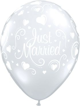 "Qualatex Latexballon Just Married Hearts Diamond Clear 28cm/11"" 50 Stück"