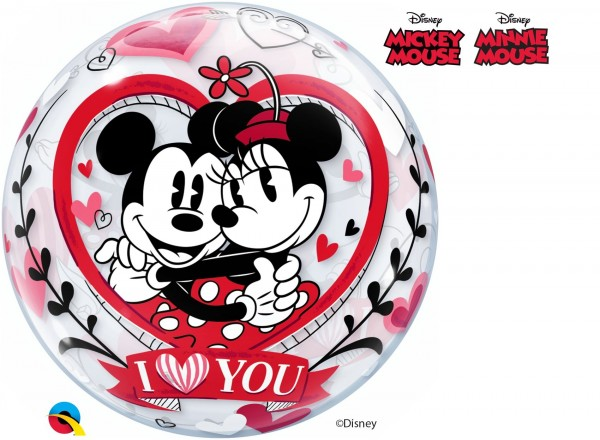 """Qualatex Bubbles Mickey & Minnie Mouse I Love You 56cm/22"""""""