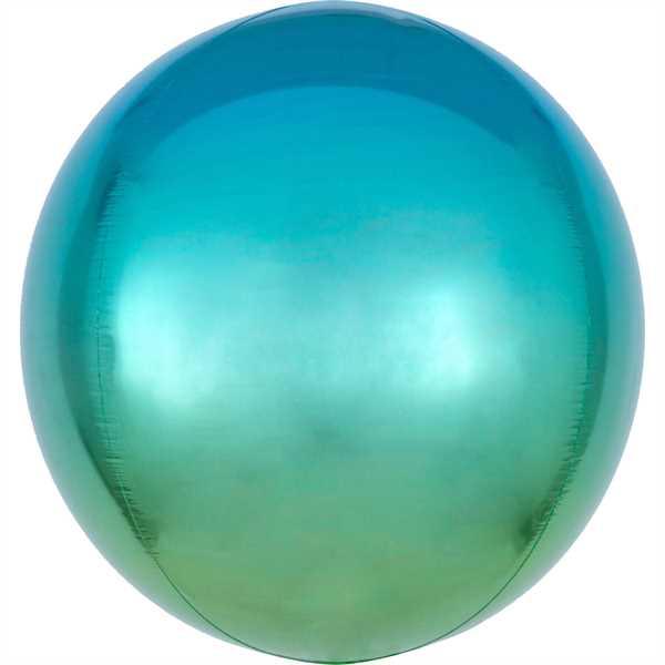 "Anagram Folienballon Orbz Ombré Blue & Green 40cm/16"""