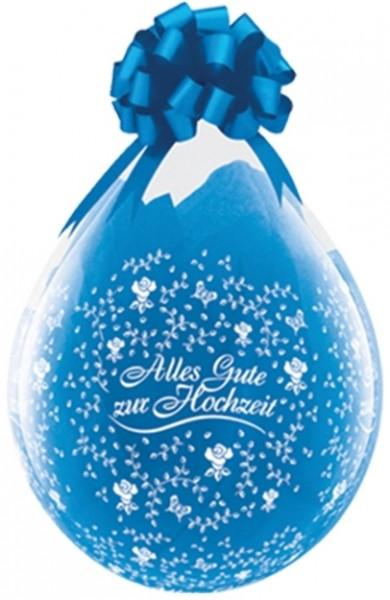 """Qualatex Verpackungsballon Alles Gute zur Hochzeit Flowers Diamond Clear 45cm/18"""" 25 Stück"""
