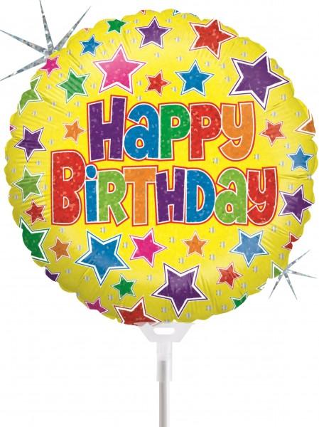"Betallic Folienballon Bold Stars Birthday Holographic 23cm/9"" luftgefüllt inkl. Stab"