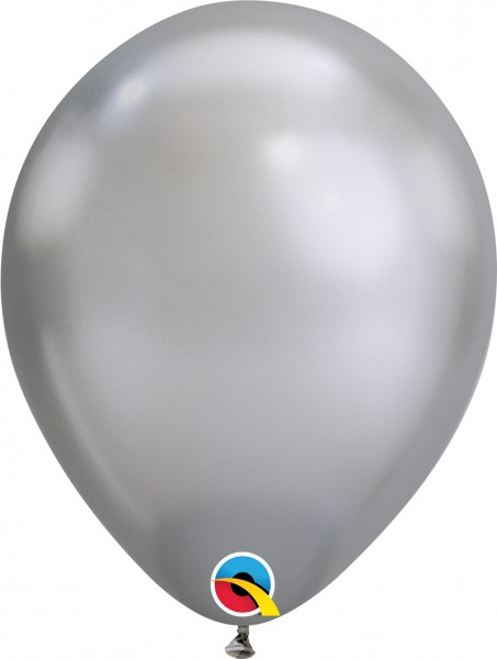 "Qualatex Latexballon Chrome Silver 28cm/11"" 100 Stück"