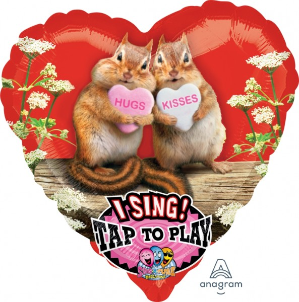 "Anagram Folienballon Herz Sing-A-Tune Avanti ""Hugs & Kisses"" Chipmunks 70cm/27"""
