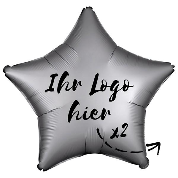"Folien-Werbeballon Stern Satin Luxe Platinum 50cm/20"" 2-Seitig bedruckt"