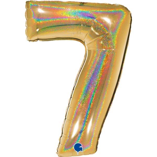 "Grabo Folienballon Zahl 7 Glitter Holographic Gold 100cm/40"""