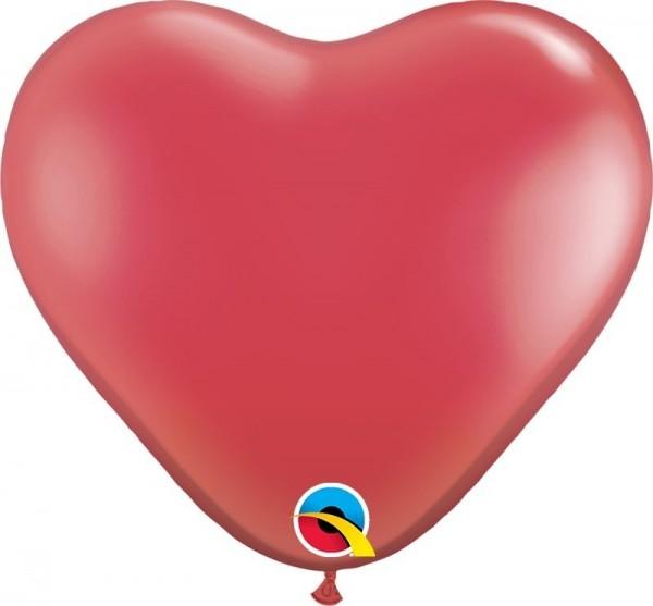 "Qualatex Latexballon Jewel Ruby Red Heart 15cm/6"" 100 Stück"