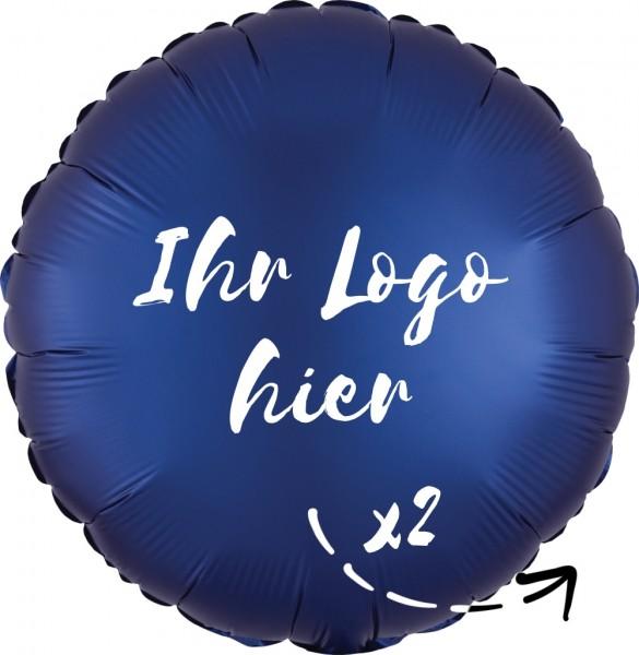 """Folien-Werbeballon Rund Satin Luxe Navy 45cm/18"""" 2-Seitig bedruckt"""