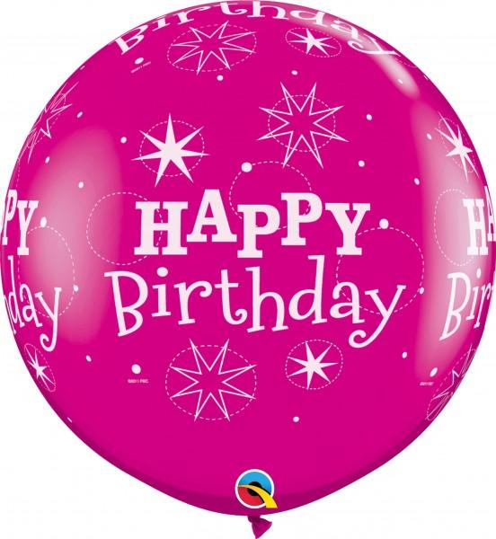 Qualatex Latexballon Birthday Sparkle-A-Round Wild Berry 90cm/3' 2 Stück