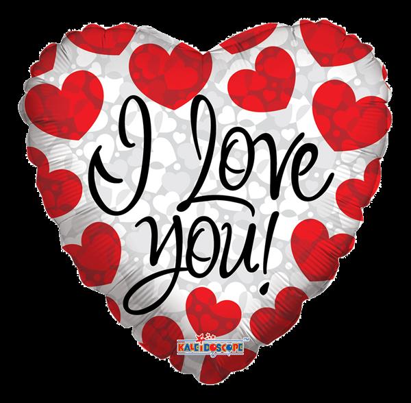 """Kaleidoscope Folienballon Herz """"I Love You - Rote Herzen"""", 18"""""""