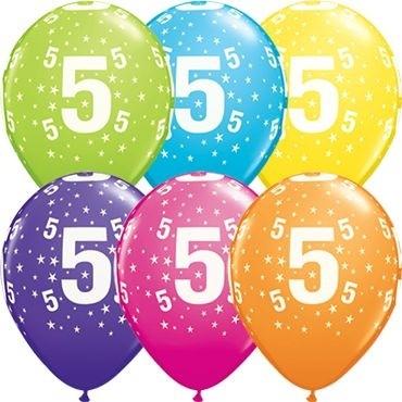 "Qualatex Latexballon Stars 5-A-Round Tropical Assortment 28cm/11"" 50 Stück"