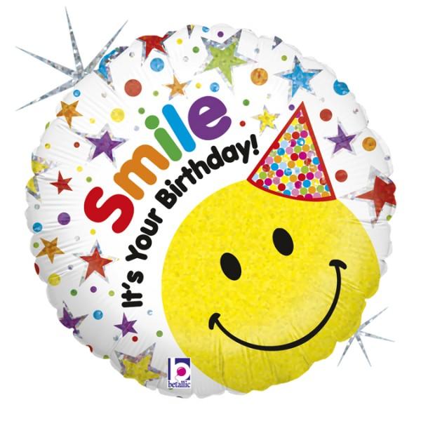 "Betallic Folienballon Smile- It's Your Birthday! 46cm/18"""