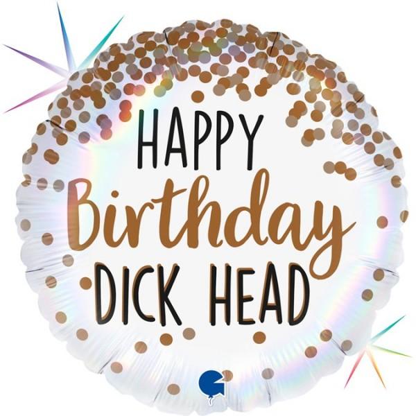 "Grabo Folienballon 46cm/18"" Happy Birthday Dick Head Regenbogen Holographic"