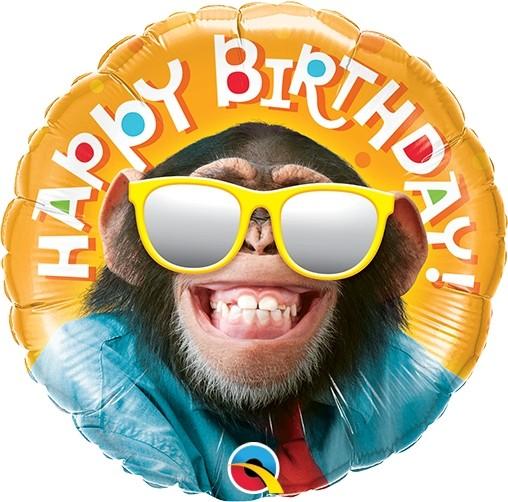 "Qualatex Folienballon Birthday Smilin' Chimp 23cm/9"""