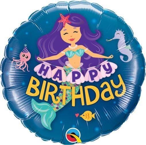 "Qualatex Folienballon Happy Birthday Mermaid 23cm/9"""