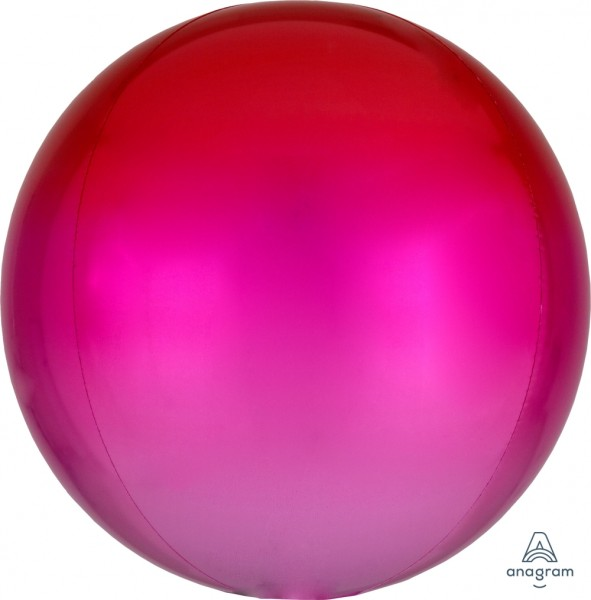 Anagram Folienballon Orbz Ombré Red & Pink 40cm/16""